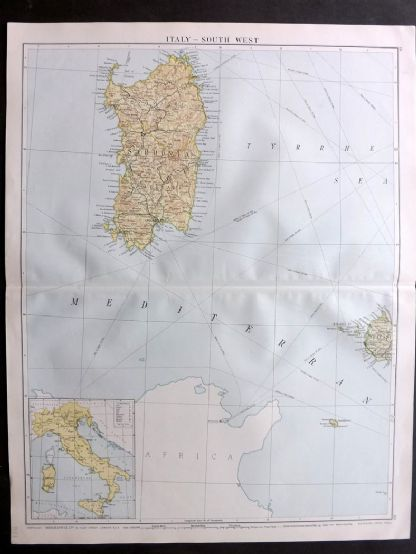 Gross 1920 Large Map. Italy - South West